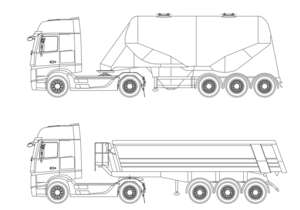 Mercedes-Benz Actros with gravel semi-trailer and silo trailer