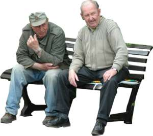 2 old men on a bench