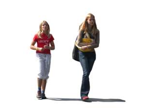 2 girls, walking