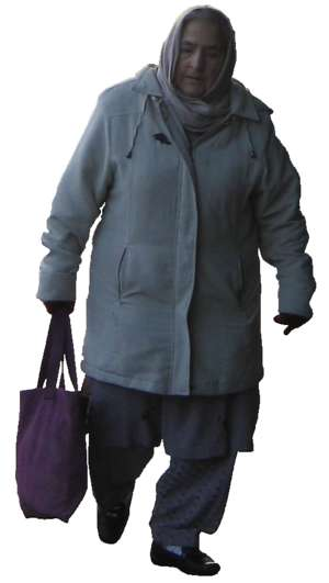 elderly woman with bag, walking