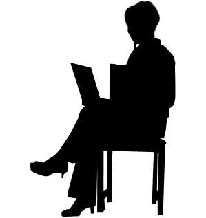 elderly woman with laptop, silhouette