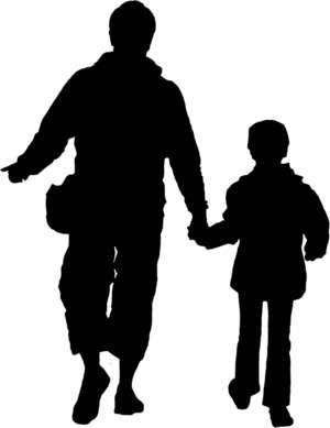 father and son, walking, silhouette
