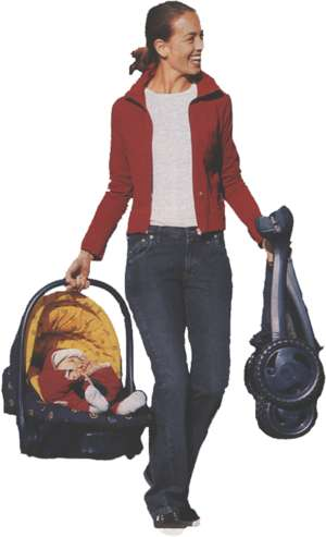 Woman with baby-carrier
