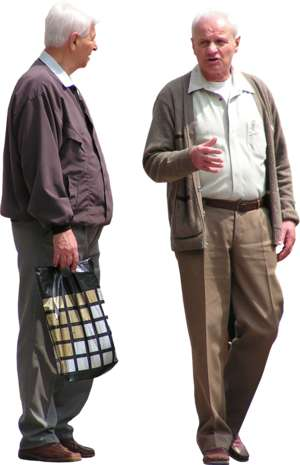 2 elderly men talking