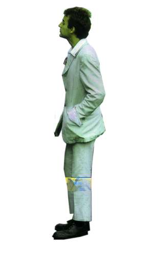 man, standing, white suit