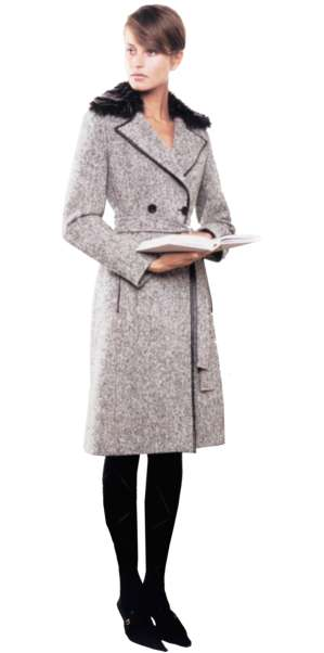 woman with book, standing