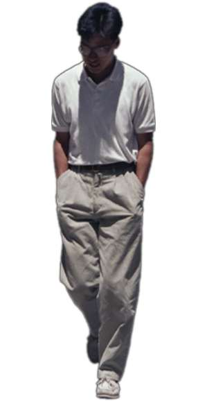 man, standing, leaning