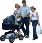 Masked Images: family, pram, walking