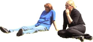 Masked Images: 2 women, sitting